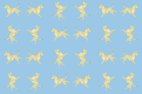 Zebra Hi 5 Blue and Gold fabric by danikaherrick on Spoonflower - custom fabric