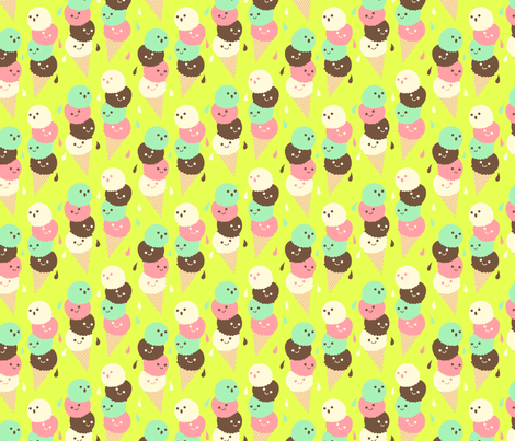 Ice Cream Social - Small  Lime fabric by hugandkiss on Spoonflower - custom fabric