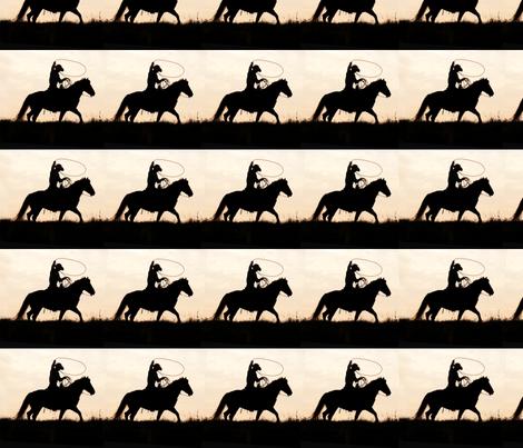 Cowboy_Silhouette_border_copy fabric by focusonfabric on Spoonflower - custom fabric