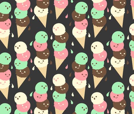 Ice Cream Social - Large Slate fabric by hugandkiss on Spoonflower - custom fabric