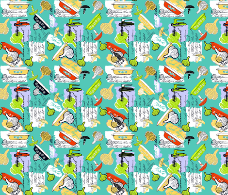 Julia's Kitchen - Aqua fabric by lulabelle on Spoonflower - custom fabric