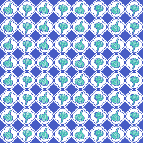 Garlic Trellis Blue Aqua fabric by lulabelle on Spoonflower - custom fabric