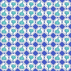 Garlic Trellis Blue Aqua