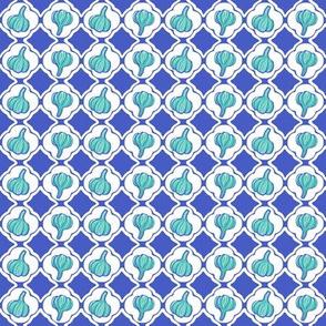 Garlic Trellis Blue Aqua