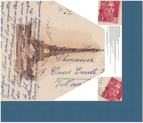 Paris Postcard DIY Apron - ZyndiePop fabric by osoandbean on Spoonflower - custom fabric