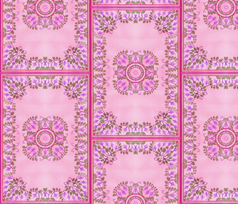 Art Nouveau Tile ~ Freesia Tile fabric by peacoquettedesigns on Spoonflower - custom fabric