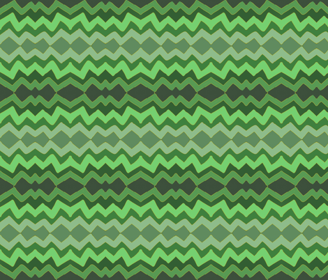 lazy zigzag in ombre green fabric by danielle909 on Spoonflower - custom fabric