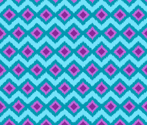 Festival Ikat in Aqua and Violet fabric by shellypenko on Spoonflower - custom fabric