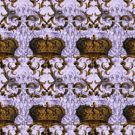 Crown Damask ~ La Reine ~ Gilt and Silvered  fabric by peacoquettedesigns on Spoonflower - custom fabric