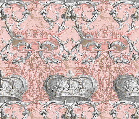 Crown Damask ~ La Dauphine ~ Gilt and Silvered fabric by peacoquettedesigns on Spoonflower - custom fabric