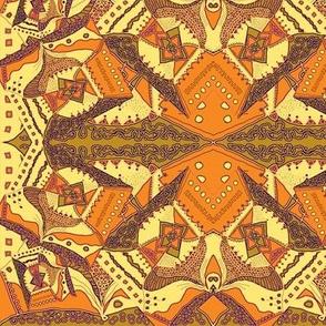 TRICHROMATIC DELIRIUM  OCHER GOLD BROWN geometric