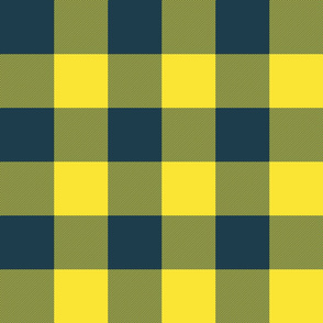 "3"" parka check - yellow and navy"