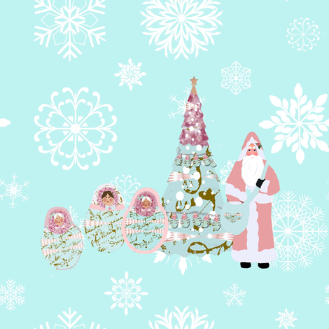 Babushka Snow and Father Christmas fabric by karenharveycox on Spoonflower - custom fabric