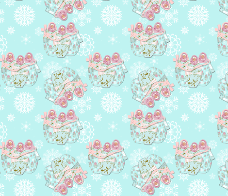 Babushka Love Snow fabric by karenharveycox on Spoonflower - custom fabric