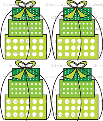 Green White Polka Dot Gift Boxes