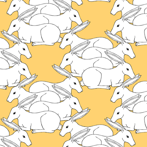 Rabbit Snuggle Check Lemon  fabric by pond_ripple on Spoonflower - custom fabric