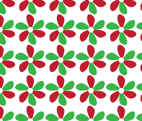 Flower Red and Green fabric by lesrubadesigns on Spoonflower - custom fabric