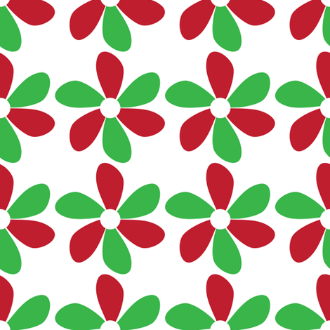 Flowers Red and Green fabric by lesrubadesigns on Spoonflower - custom fabric
