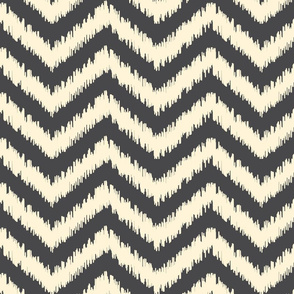 Black and Cream Ikat Chevron
