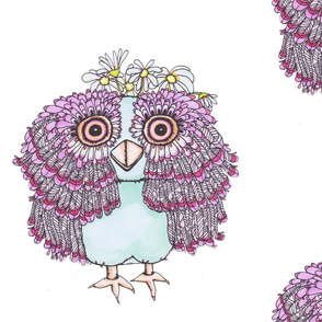 Girl Owl With Flowers