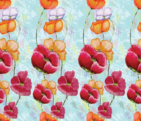Poppy Ribbons aqua key design fabric by moxieart on Spoonflower - custom fabric