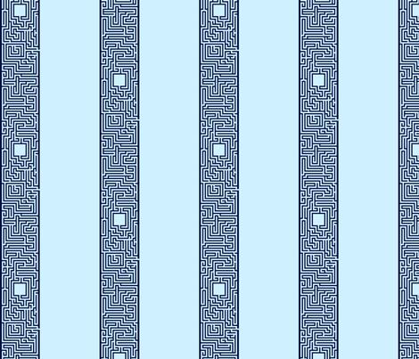 Maze Stripe - Blue fabric by will_la_puerta on Spoonflower - custom fabric