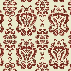 Bird Damask Red Large