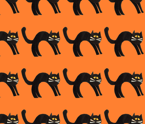 Black Cats fabric by lesrubadesigns on Spoonflower - custom fabric