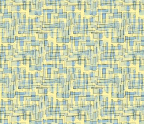 Rectangles in Buttermilk and Forget-Me-Not Blues fabric by anniedeb on Spoonflower - custom fabric