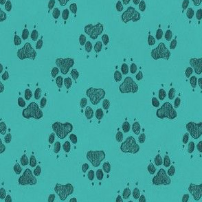 Coyote Pawprints Aqua Blue