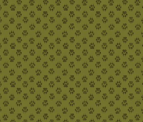 Coyote Pawprints Leaf Green fabric by meganmerz on Spoonflower - custom fabric