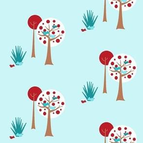Fantail and pohutakawa tree