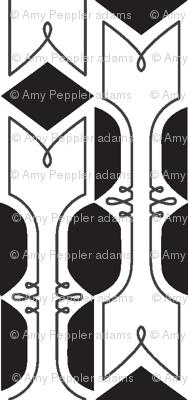 Wynton* (Black & White) || French typography wrought iron New Orleans flourish diamonds