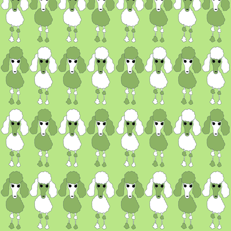 Poodle Army - Green fabric by samdraws on Spoonflower - custom fabric