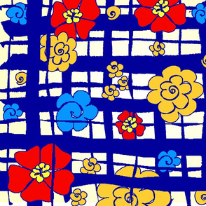 fabric_design_blue_plaid_flowers
