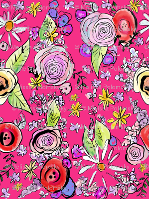 In The Garden Floral // Hot Pink