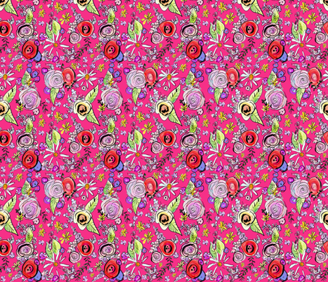 In The Garden Floral // Hot Pink fabric by theartwerks on Spoonflower - custom fabric