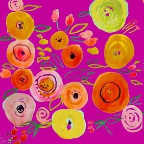 Watercolor Poppies // Fuchsia