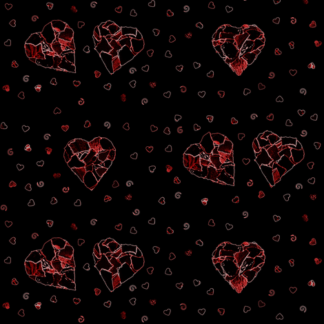 Black (and red) hearts fabric by greennote on Spoonflower - custom fabric