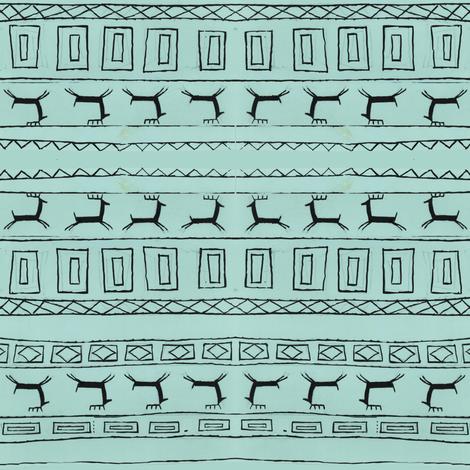 Black Reindeer on Blue_Background_Stripe-1 fabric by htsvik on Spoonflower - custom fabric