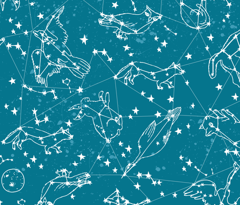 constellations // sky night time stars kids nursery baby animals fabric by andrea_lauren on Spoonflower - custom fabric