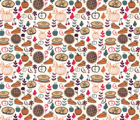 Pies // thanksgiving food apple pie pumpkin food fabric by andrea_lauren on Spoonflower - custom fabric