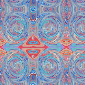Blue & Red Bohemian Gypsy Pattern