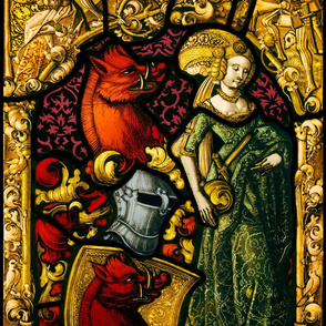 Heraldric Stained Glass Window with Woman and Boar