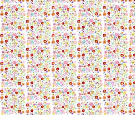 Colorful Floral Doodle on White fabric by theartwerks on Spoonflower - custom fabric
