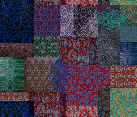 Bohemian Cheater Quilt (in Indigo and Mulberry) fabric by nouveau_bohemian on Spoonflower - custom fabric