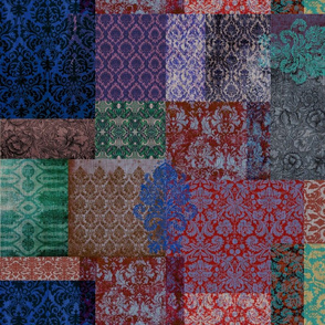 Bohemian Cheater Quilt (in Indigo and Mulberry)