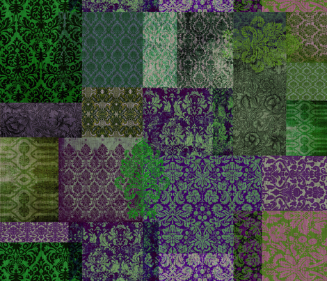 Bohemian Cheater Quilt (in Grass and Grape) fabric by nouveau_bohemian on Spoonflower - custom fabric