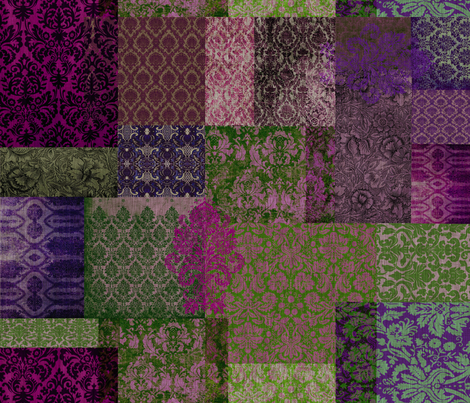 Bohemian Cheater Quilt (in Blueberry and Moss) fabric by nouveau_bohemian on Spoonflower - custom fabric