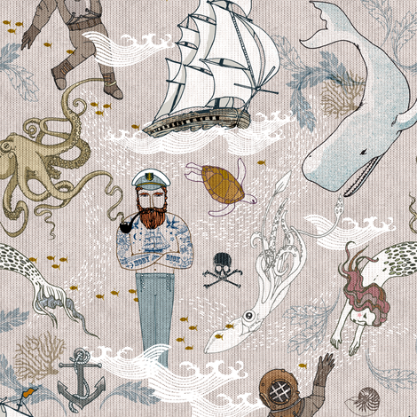 Cephalopods + Old Sea Dogs (SMALL) fabric by nouveau_bohemian on Spoonflower - custom fabric